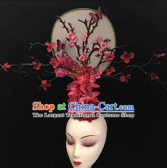 Top Halloween Giant Hair Accessories Chinese Traditional Catwalks Plum Blossom Headpiece for Women