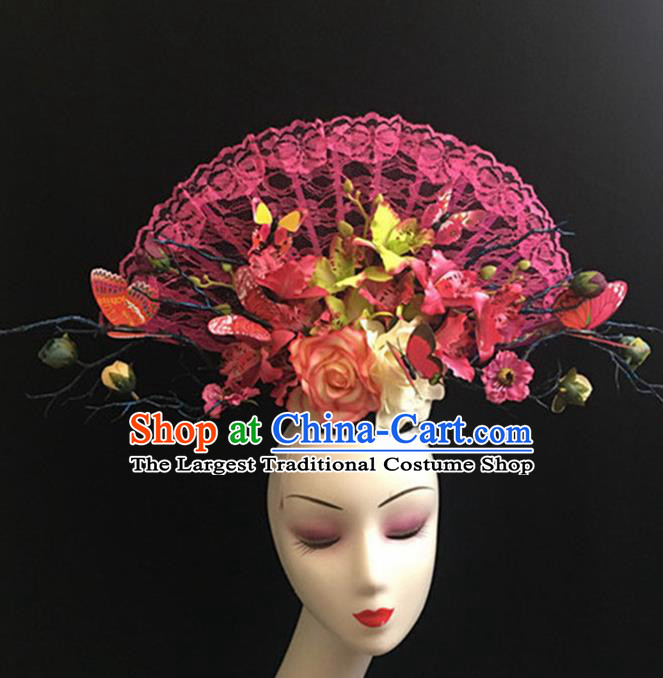 Top Halloween Stage Show Giant Pink Lace Hair Accessories Chinese Traditional Catwalks Headpiece for Women