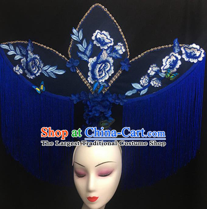 Top Halloween Stage Show Giant Hair Accessories Chinese Traditional Catwalks Blue Peony Tassel Headpiece for Women