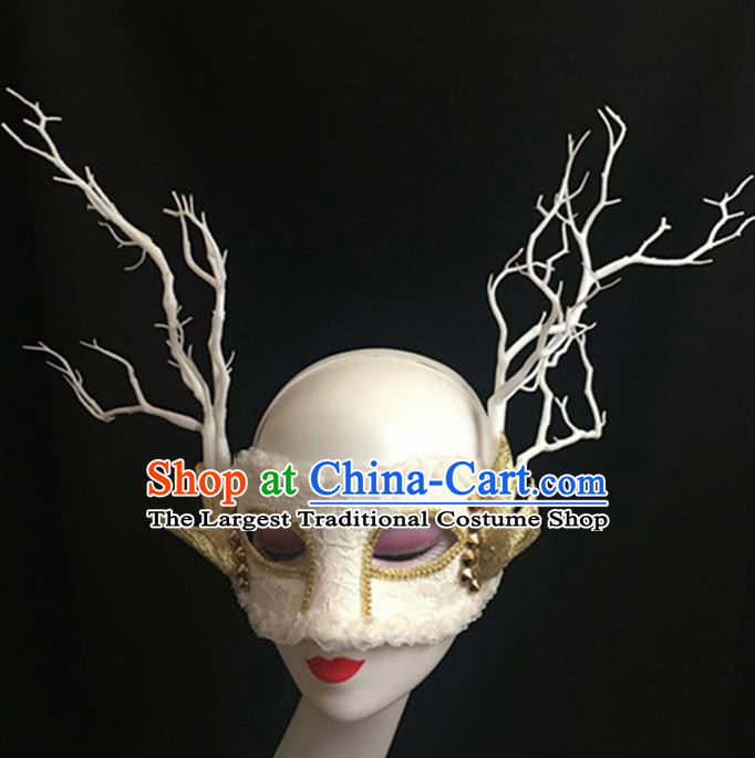 Top Halloween Accessories Brazilian Carnival Catwalks White Face Masks for Women