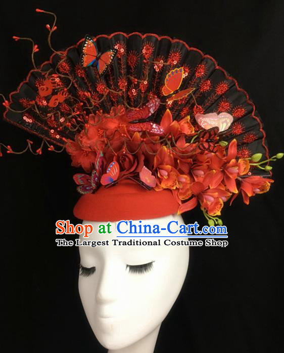 Top Halloween Hair Accessories Stage Show Chinese Traditional Catwalks Red Top Hat Headpiece for Women