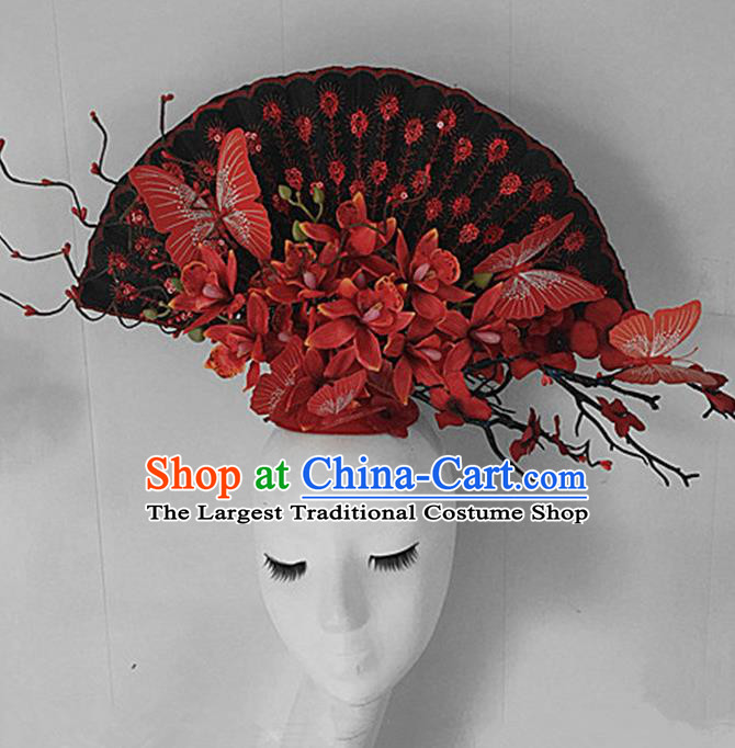 Top Halloween Stage Show Giant Hair Accessories Chinese Traditional Catwalks Red Flowers Headpiece for Women