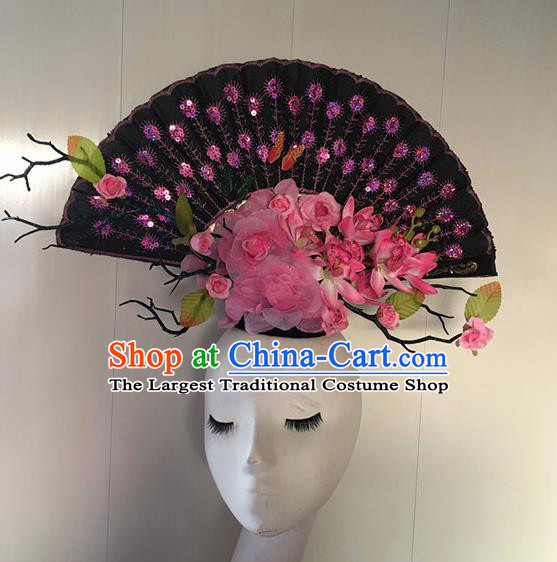Top Halloween Pink Peony Giant Hair Accessories Stage Show Chinese Traditional Palace Catwalks Headpiece for Women