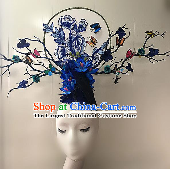 Top Halloween Blue Peony Giant Hair Accessories Stage Show Chinese Traditional Palace Catwalks Headpiece for Women