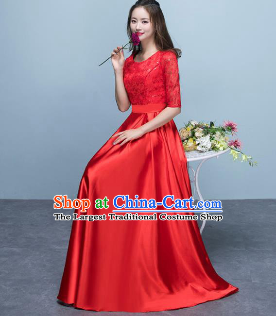 Top Grade Stage Performance Compere Red Formal Dress Chorus Elegant Lace Full Dress for Women