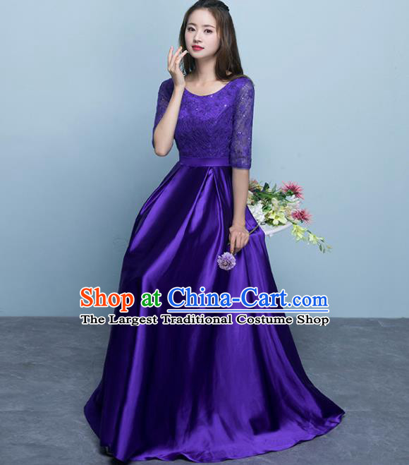 Top Grade Stage Performance Compere Purple Formal Dress Chorus Elegant Lace Full Dress for Women