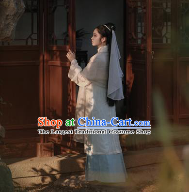 Traditional Chinese Ancient Taoist Nun Hanfu Dress Ming Dynasty Nobility Lady Silk Historical Costumes Complete Set