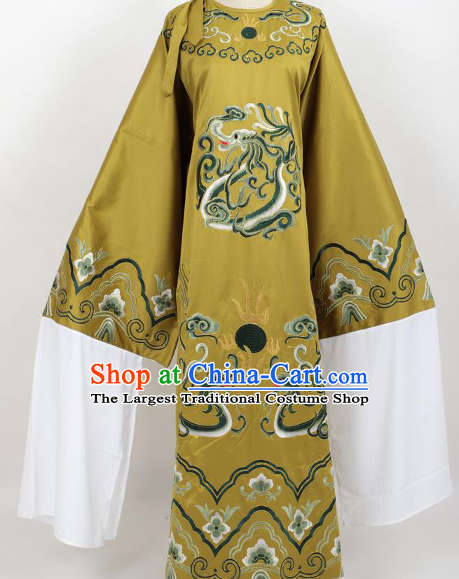 Professional Chinese Traditional Beijing Opera Niche Olive Green Ceremonial Robe Ancient Number One Scholar Costume for Men