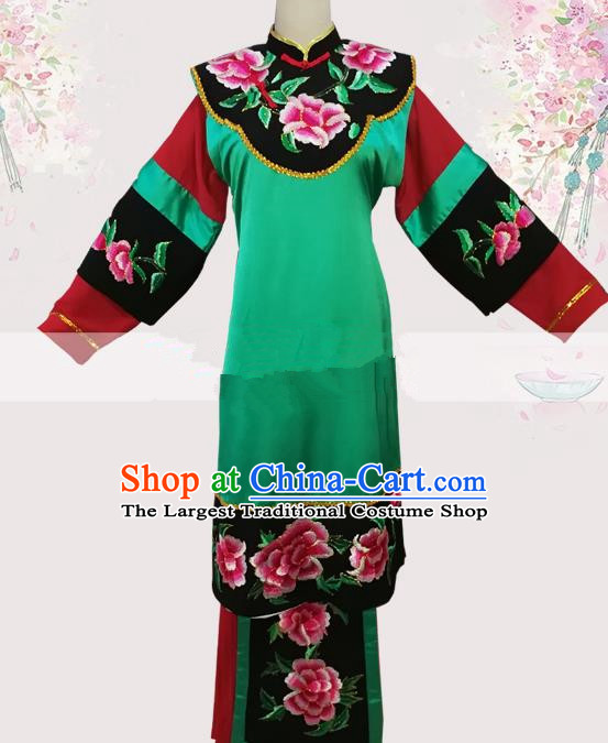 Professional Chinese Traditional Beijing Opera Woman Matchmaker Green Dress Ancient Landlord Shiva Costumes for Women