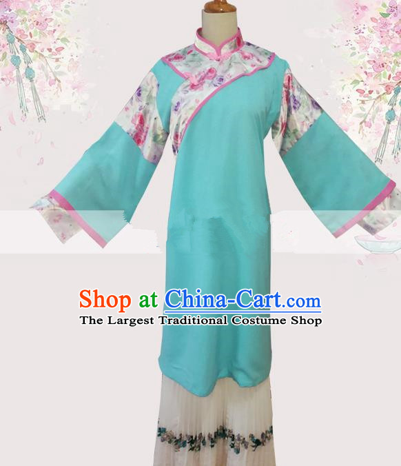 Professional Chinese Traditional Beijing Opera Woman Matchmaker Light Blue Dress Ancient Landlord Shiva Costumes for Women