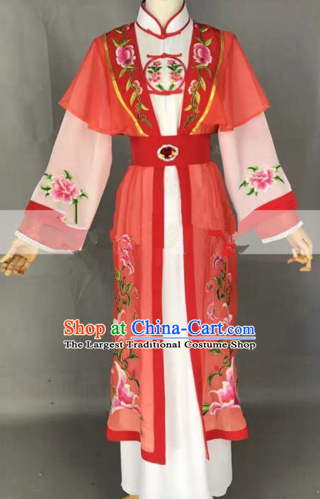 Chinese Traditional Peking Opera Diva Tan Chun Red Dress Ancient Court Lady Costume for Women