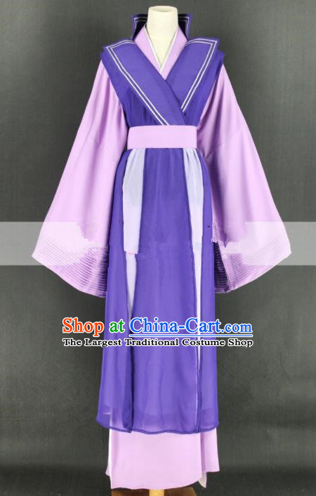 Chinese Traditional Peking Opera Diva Purple Dress Ancient Countess Costume for Women