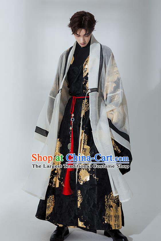 Asian Chinese Jin Dynasty Crown Prince Hanfu Clothing Traditional Ancient Swordsman Costumes for Men