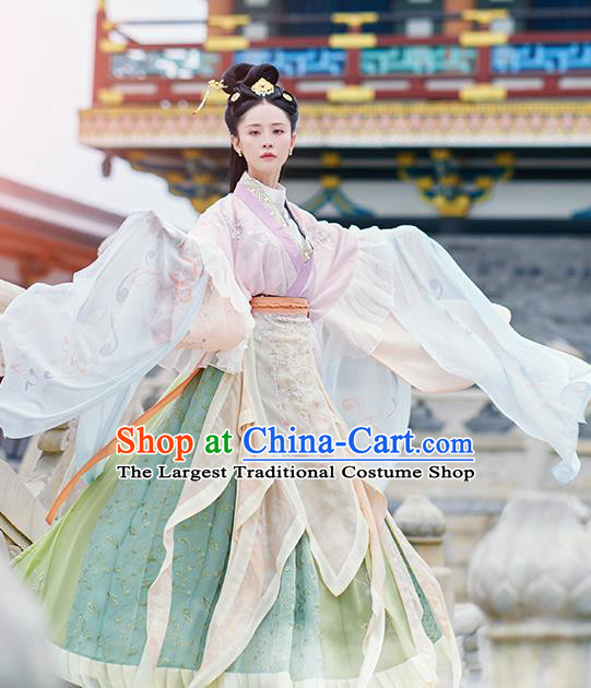 Asian Chinese Jin Dynasty Imperial Concubine Hanfu Dress Traditional Ancient Myth Water Goddess Costumes for Women