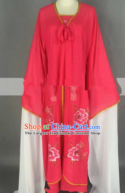 Chinese Traditional Peking Opera Actress Servant Girl Rosy Dress Ancient Poor Lady Costume for Women