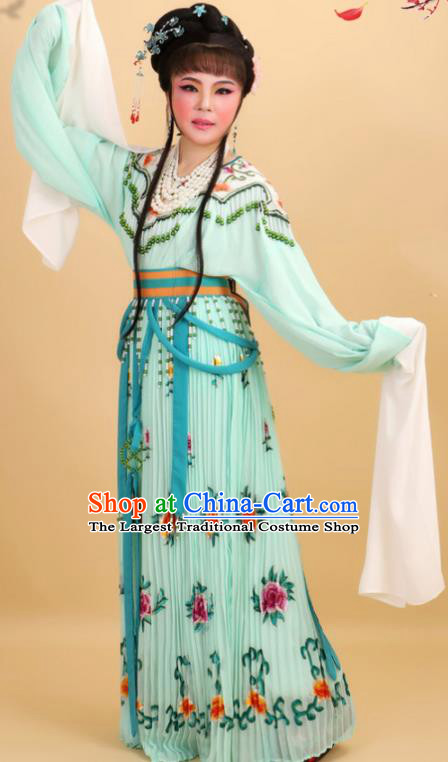 Chinese Traditional Peking Opera Royal Princess Green Dress Ancient Court Lady Costume for Women