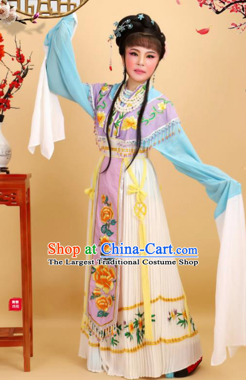 Chinese Traditional Peking Opera Royal Princess Lilac Dress Ancient Court Lady Costume for Women