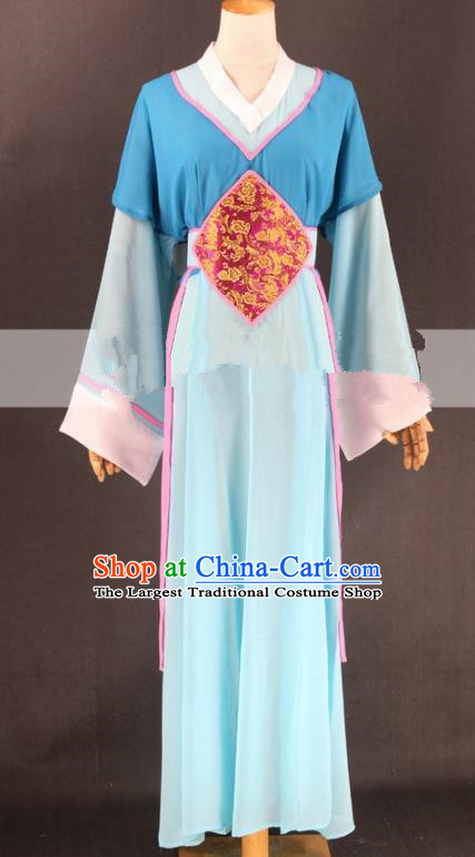 Chinese Traditional Peking Opera Actress Court Maid Blue Dress Ancient Servant Girl Costume for Women