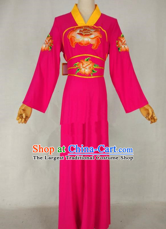 Chinese Traditional Peking Opera Young Lady Rosy Dress Ancient Servant Girl Costume for Women