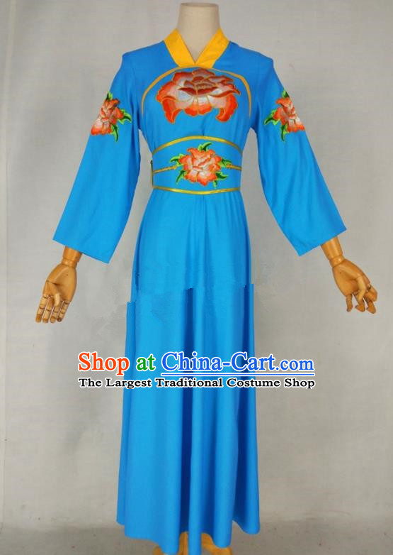 Chinese Traditional Peking Opera Young Lady Blue Dress Ancient Servant Girl Costume for Women