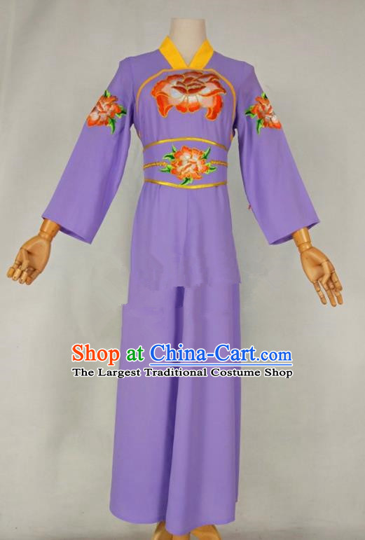 Chinese Traditional Peking Opera Young Lady Purple Dress Ancient Servant Girl Costume for Women