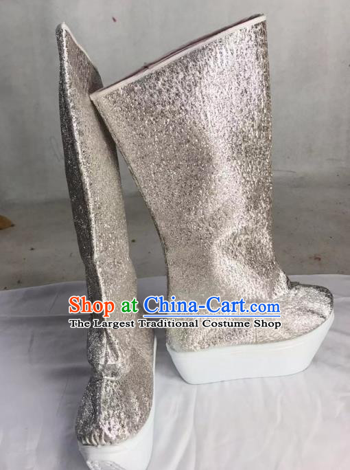 Traditional China Beijing Opera Officer Argent Boots Ancient Chinese Peking Opera Takefu Shoes