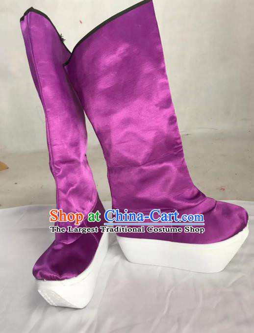 Traditional China Beijing Opera Officer Purple Boots Ancient Chinese Peking Opera Takefu Shoes