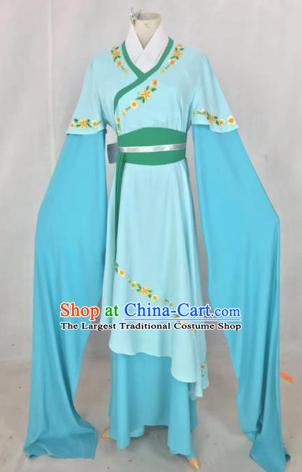 Chinese Traditional Peking Opera Actress Hua Tan Light Blue Dress Ancient Maidservant Costume for Women