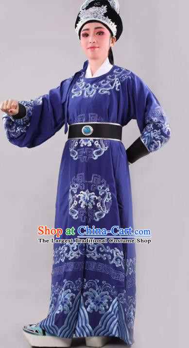 Chinese Traditional Beijing Opera Takefu Royalblue Robe Ancient Number One Scholar Costume for Men