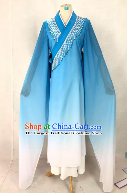 Chinese Traditional Peking Opera Actress Blue Dress Ancient Madam White Snake Costume for Women