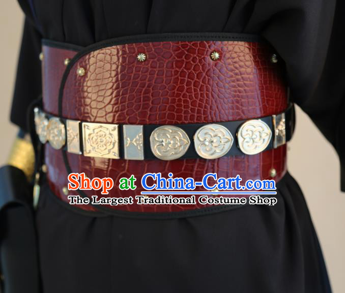 Chinese Traditional Hanfu Belts Ancient Ming Dynasty Swordsman Red Leather Waistband for Men