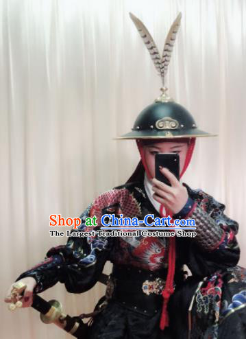 Chinese Traditional Swordsman Helmet Headwear Ancient Ming Dynasty Blades Hat for Men