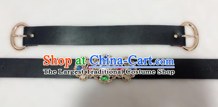 Chinese Traditional Hanfu Gem Belts Ancient Ming Dynasty Swordsman Leather Waistband for Men