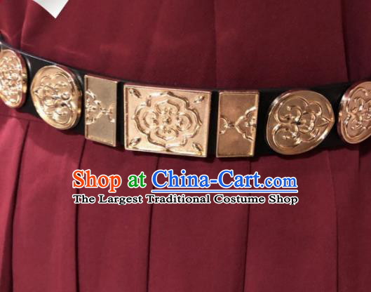 Chinese Traditional Hanfu Golden Belts Ancient Ming Dynasty Swordsman Leather Waistband for Men