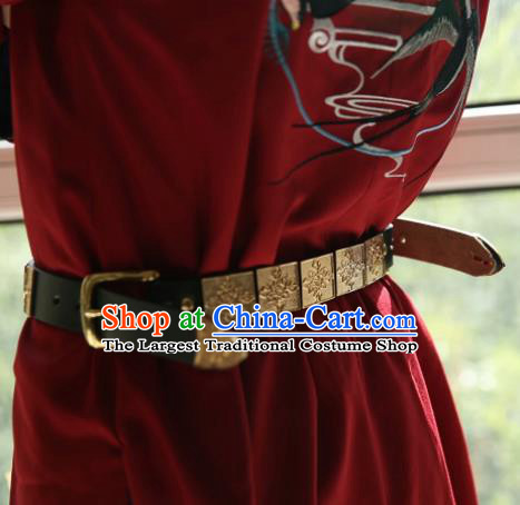 Chinese Traditional Ming Dynasty Blades Hanfu Belts Ancient Swordsman Leather Waistband for Men