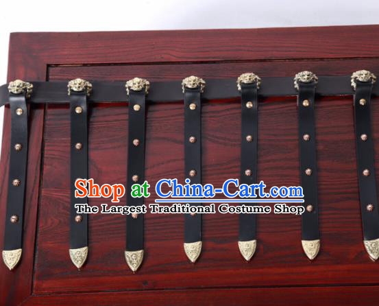Chinese Traditional Tang Dynasty Imperial Bodyguard Hanfu Belts Ancient Swordsman Leather Waistband for Men