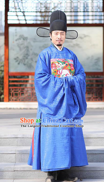 Asian Chinese Ming Dynasty Officer Ceremonial Robe Traditional Ancient Minister Costumes for Men