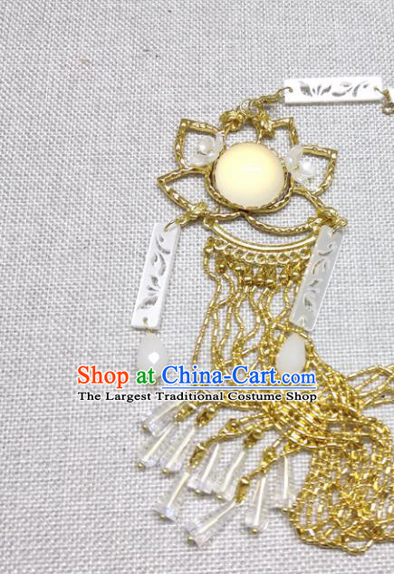 Chinese Traditional Hanfu Golden Lotus Waist Accessories Ancient Princess Tassel Belt Pendant for Women