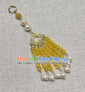 Chinese Traditional Hanfu Yellow Beads Tassel Brooch Accessories Ancient Qing Dynasty Queen Breastpin Pendant for Women