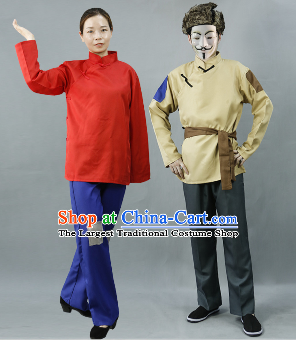 Traditional Chinese Poor People Clothes Costume Farmer Costumes Chinese Civilian Costumes for Men and Women