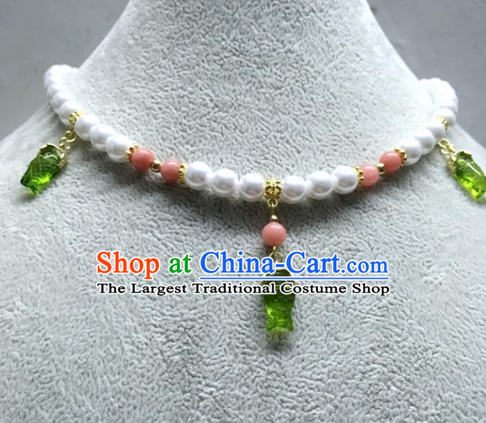 Chinese Traditional Hanfu Green Fish Necklace Accessories Ancient Princess Necklet for Women