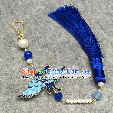 Chinese Traditional Hanfu Accessories Blueing Crane Brooch Tassel Pendant Ancient Qing Dynasty Queen Breastpin for Women