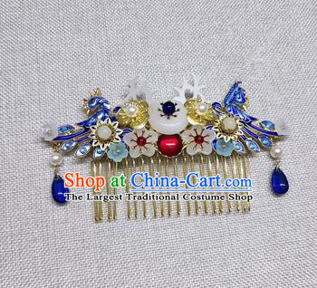 Chinese Ancient Palace Princess Cloisonne Phoenix Hair Comb Traditional Hair Accessories Hanfu Hairpins for Women