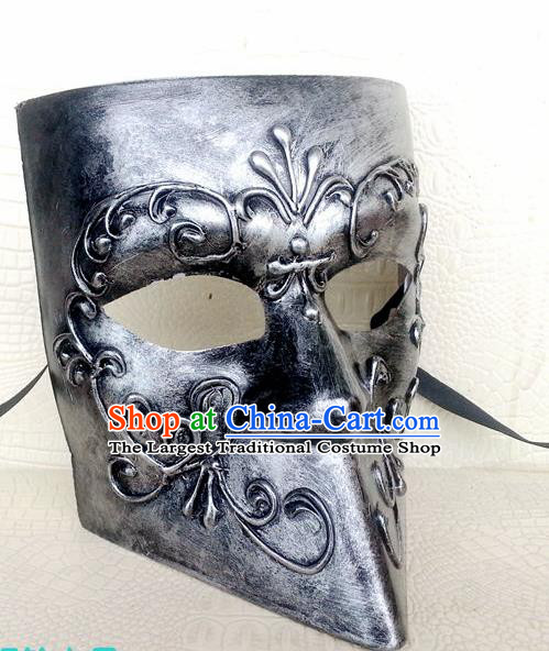 Handmade Halloween Cosplay Argent Mask Fancy Ball Stage Show Face Masks Accessories for Men