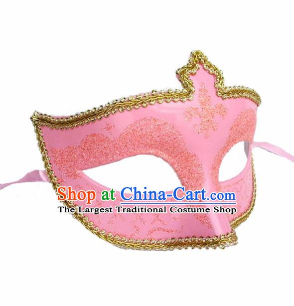 Handmade Halloween Cosplay Venice Carnival Pink Mask Fancy Ball Stage Show Face Masks Accessories for Women