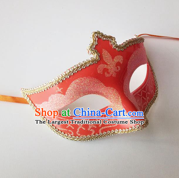 Handmade Halloween Cosplay Venice Carnival Red Mask Fancy Ball Stage Show Face Masks Accessories for Women