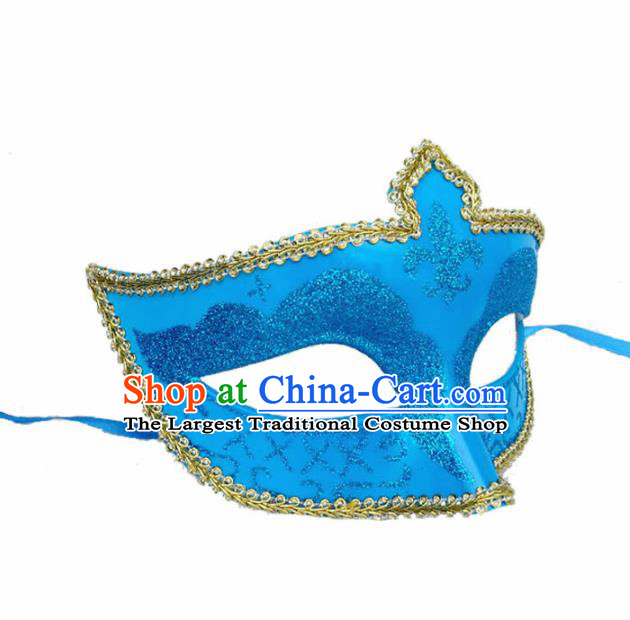 Handmade Halloween Cosplay Venice Carnival Blue Mask Fancy Ball Stage Show Face Masks Accessories for Women