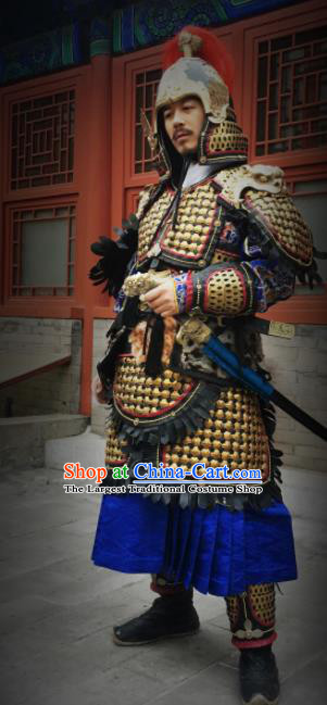 Asian Chinese Traditional Song Dynasty General Body Armor and Helmet Ancient Military Officer Costumes for Men