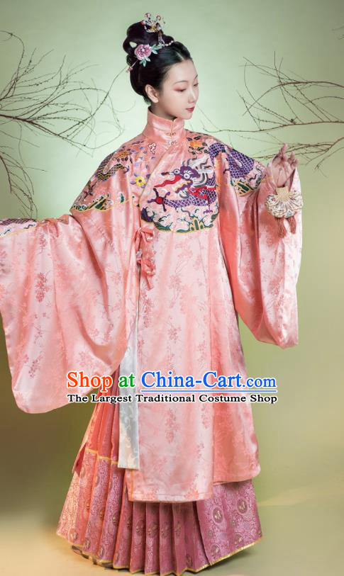 Traditional Chinese Ming Dynasty Imperial Concubine Pink Hanfu Dress Ancient Court Countess Costumes for Women