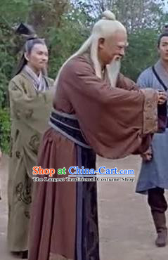 Chinese Ancient Spring and Autumn Period Civilian Philosopher Laozi Writer Lao Tzu Costumes Complete Set